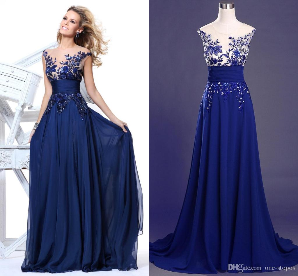 Cheap Royal Blue Prom Dresses Chiffon Sheer Jewel Neck Cap Sleeve ...