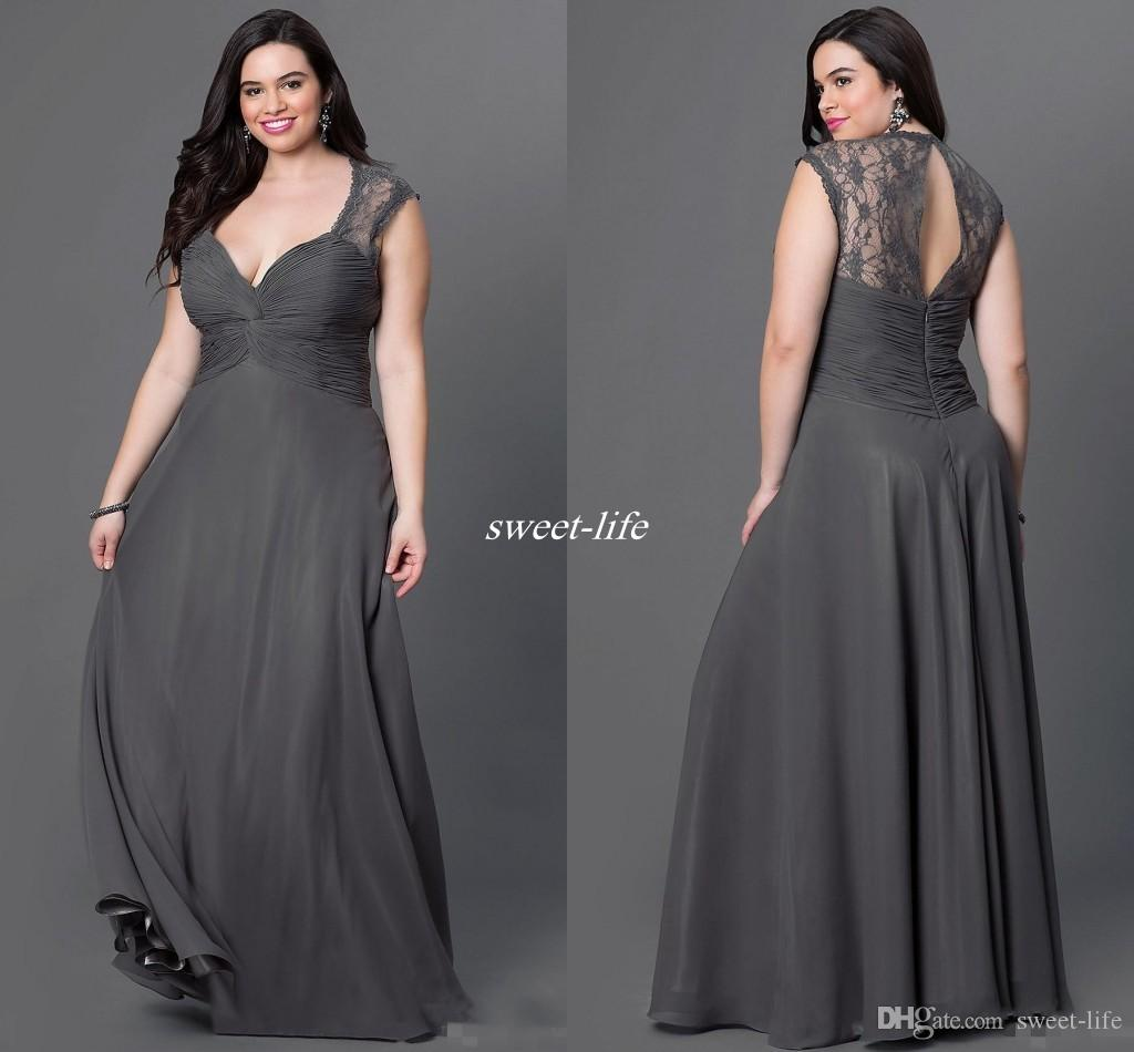 Gray Chiffon Plus Size Bridesmaid Dresses 2016 y Open