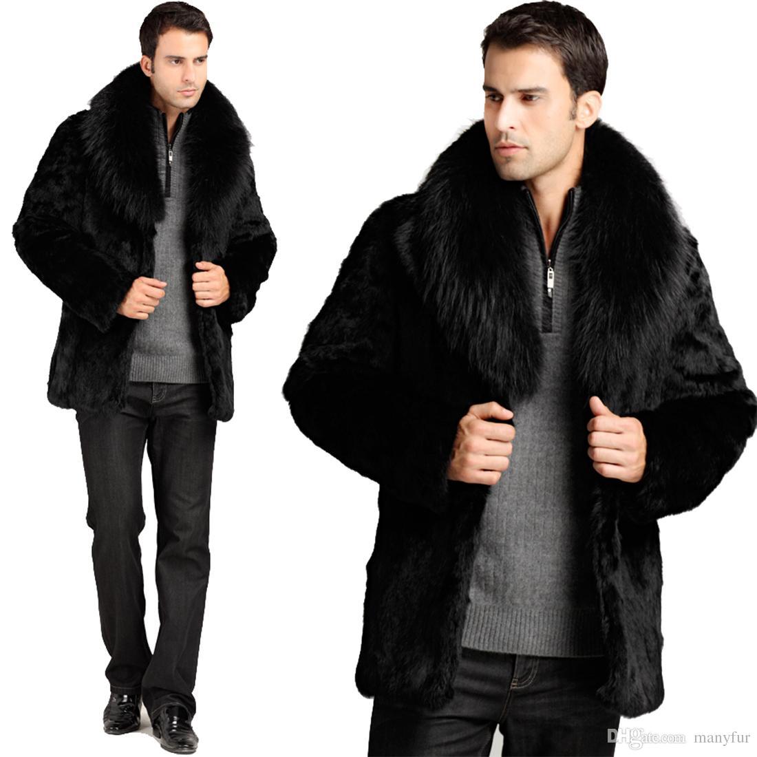 Mens jacket fur - Manyfurs Men S Fur Coat Male Genuine Top Rabbit Fur Men S Fox Fur Collar Jacket Detachable Collar Black Color Male Genuine Rabbit Fur Coat Men Fur Coat Male