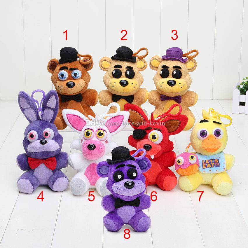 8pcs Plush pendant 14cm FNAF Five Nights At Freddy's 4 pendant plush toys doll Nightmare Fredbear Golden Freddy keychain