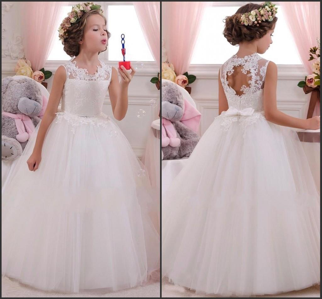 2016 Cute Flower Girl Dresses Cheap In Stock Ball Gown Jewel Neck Lace Appliq