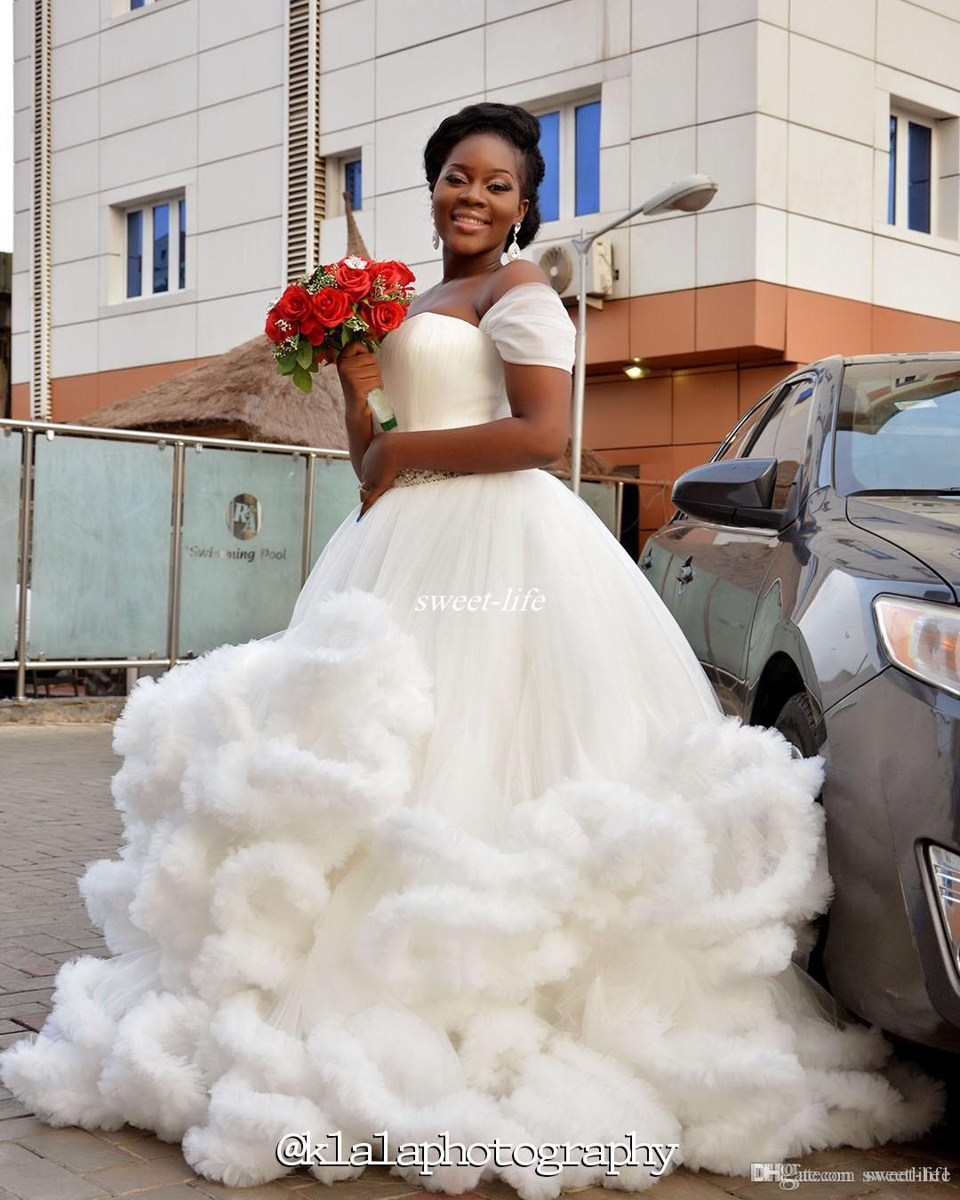 2017 off shoulder ball gown cloud wedding dresses ruffles design ruffle tulle stunning crystals nigerian bridal gowns sweep train plus size