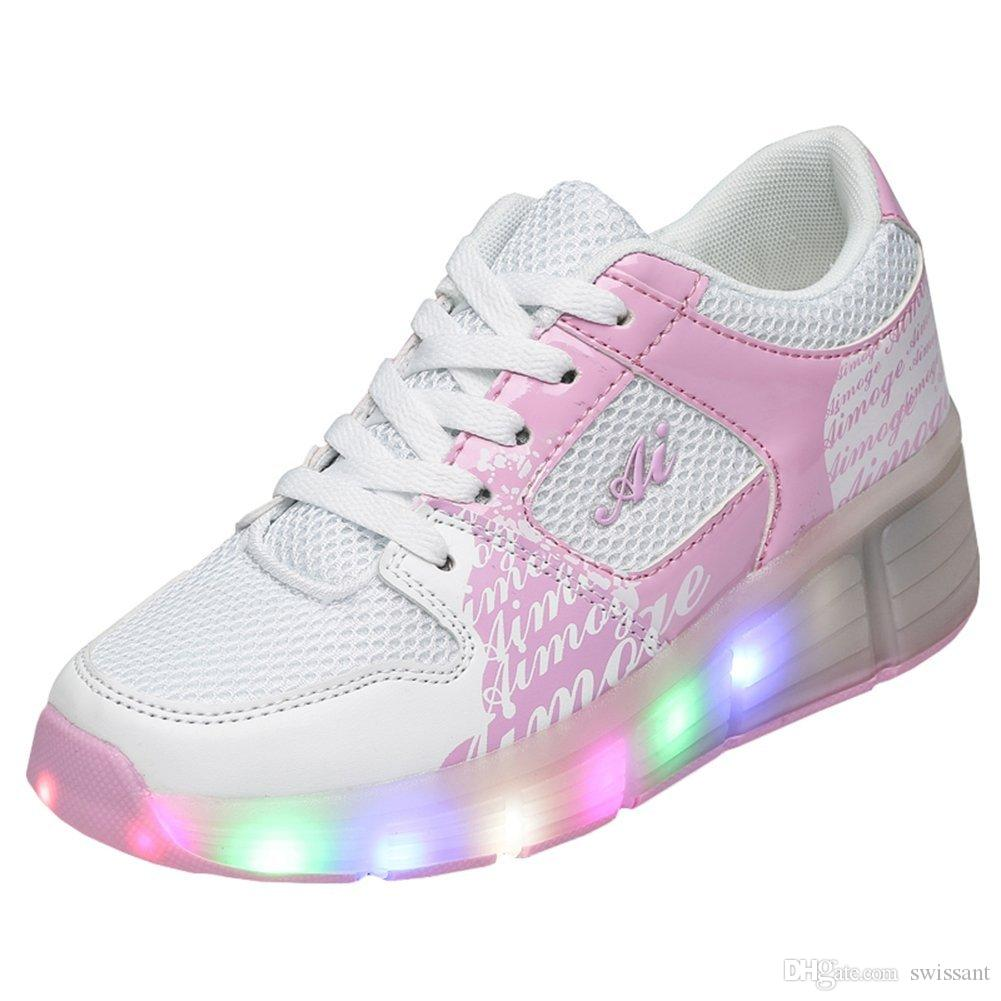 Kids Girls Boys Light Up Wheels Roller Shoes Skates Sneakers ...