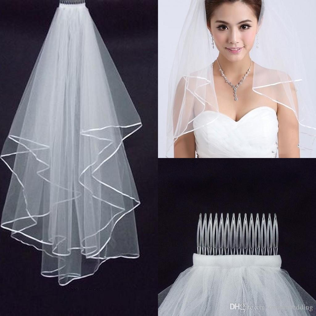 2016 Cheap Wedding Veil Short Elbow Length Simple White Satin Edge Two Layer Wedding Hair