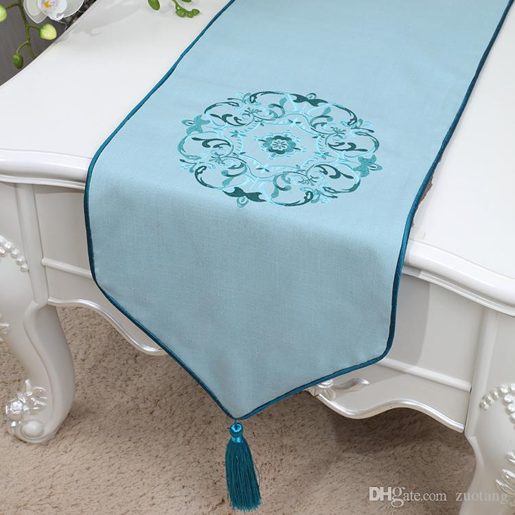 Short Length New Embroidery Table Runner High Quality Cotton Linen Modern  Simple Table Cloth China Style Dining Table Pads Placemat 150x33 High End  Table ...