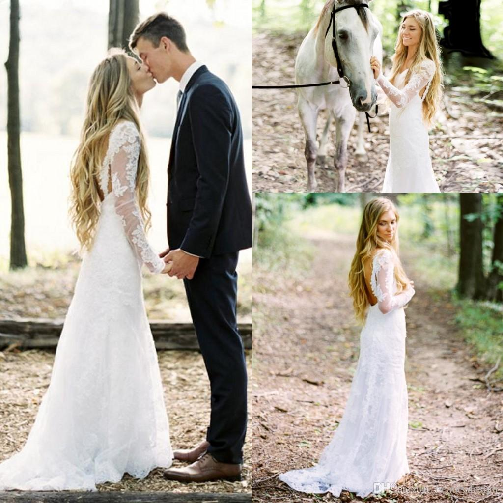 y Open Back Lace Wedding Dresses With Long Sleeves V