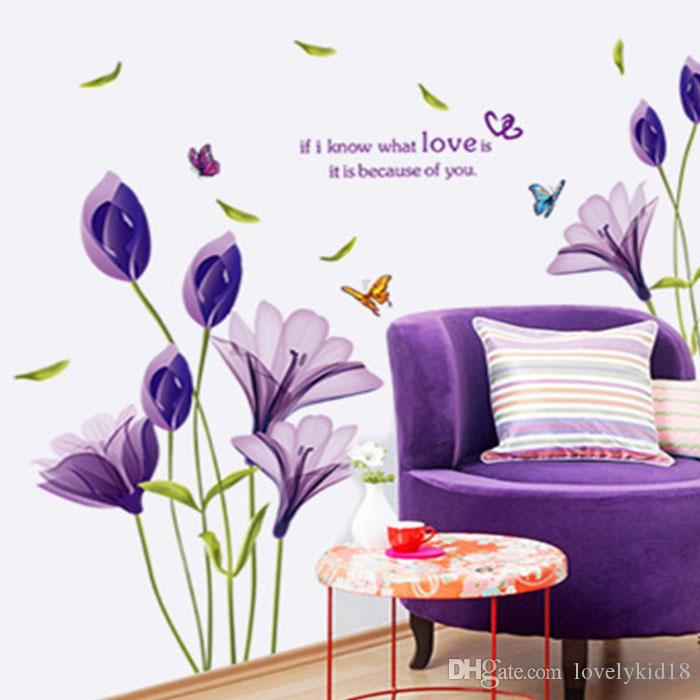 Elegant Purple Lily Wall Sticker Flower Wall Decals Floral Mural Art Floral  Home Room Decoration Purple Lily Wall Sticker Purple Lily Wall Decals  Purple ... Part 36