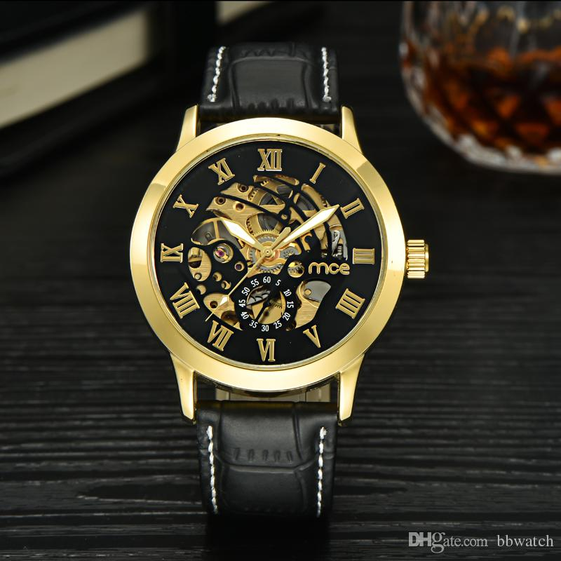 discount mens stylish leather watches 2017 mens stylish leather 1pcs metal stylish mens watch luxury watches leather band steel case automatic mechanical watch 06332 by bbwatch