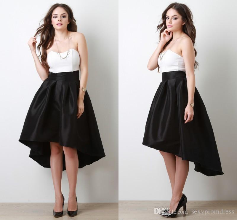 2018 new arrival black high low skirt 2017 summer