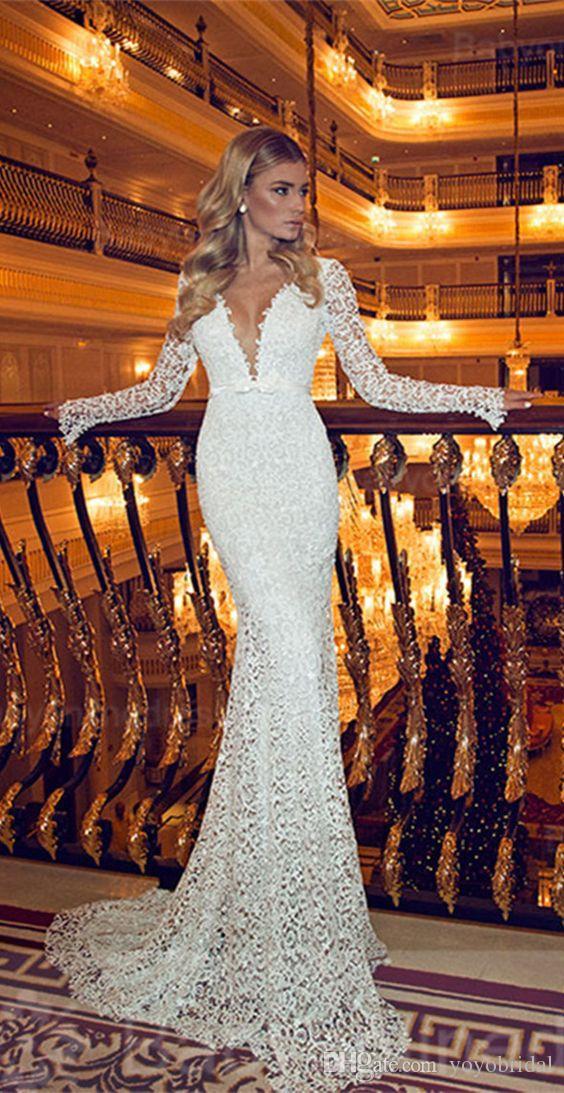 Mermaid wedding dress with long sleeves illusion designer for Long sleeve slim wedding dresses