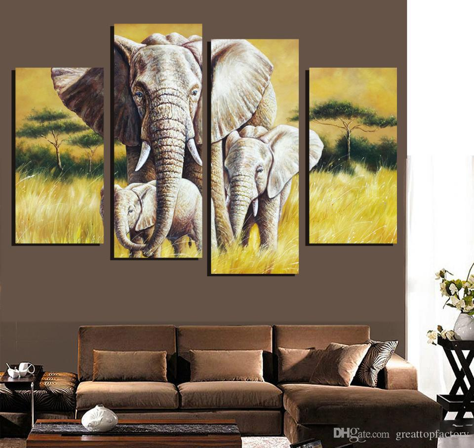 2017 4 Ppcs Elephant Painting Canvas Wall Art Picture Home