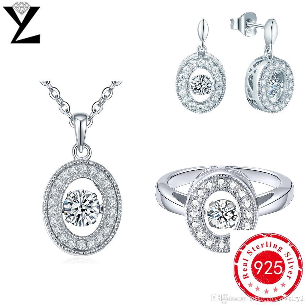 Classic 925 Sterling Silver Jewelry Sets Rings&pendant&earrings Long Dancing  Cz Diamond Jewelry Wholesale Fashion Jewelry For Women Dp24810a Dancing  Diamond