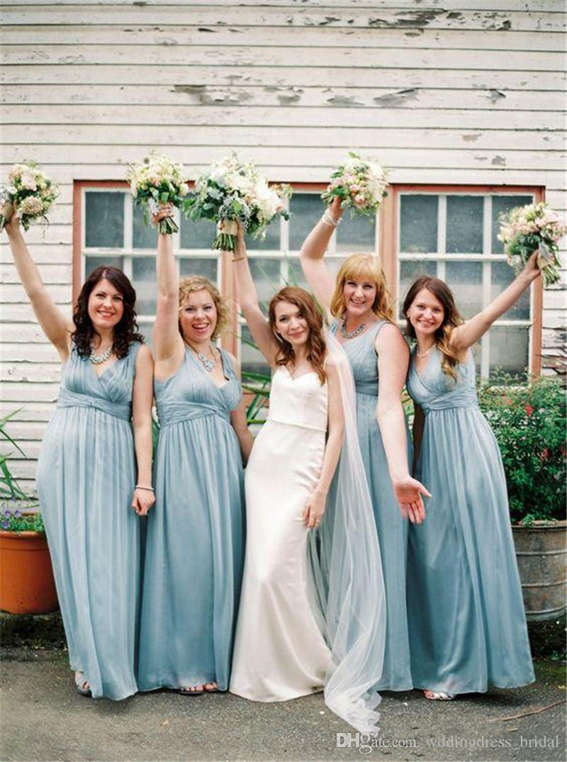 Ocea blue modern chiffon long bridesmaid dresses 2017 summer ocea blue modern chiffon long bridesmaid dresses 2017 summer garden wedding guest dresses v neck floor length plus size maid of honor gowns chiffon long ombrellifo Images
