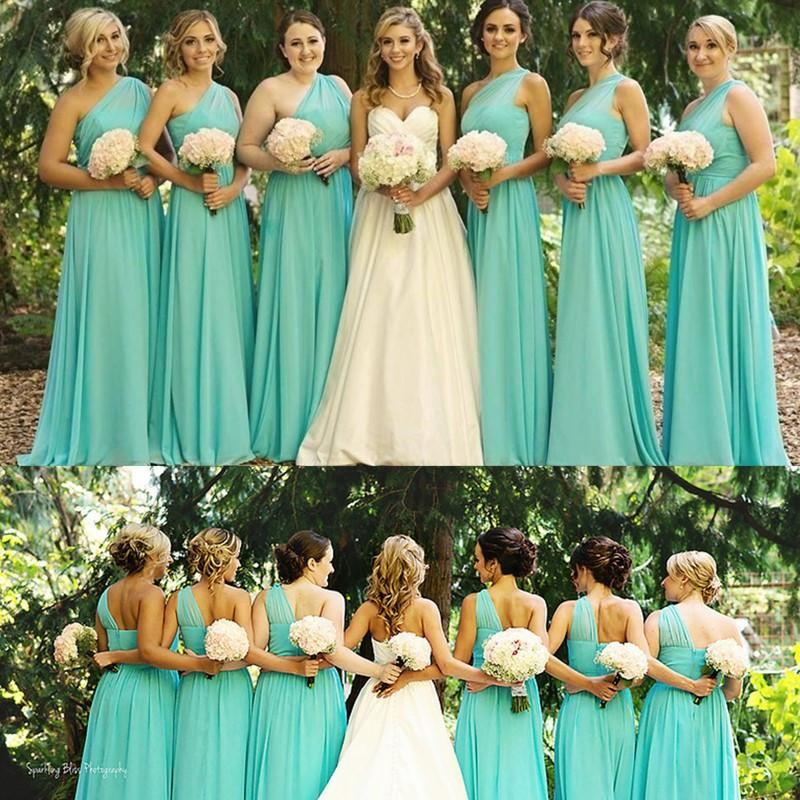 Turquoise Blue Bridesmaid Dresses 2016 Chiffon One