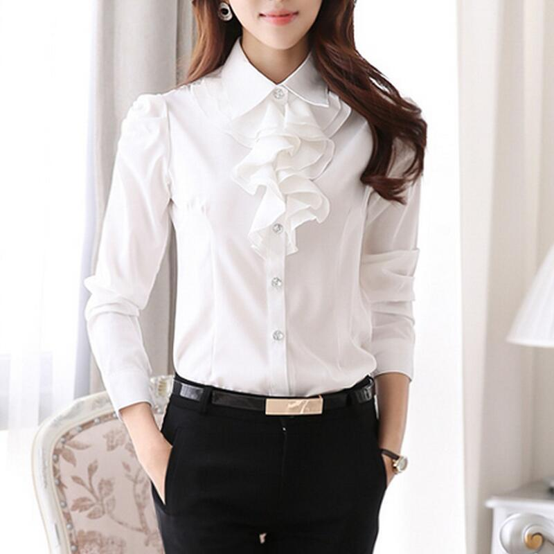 Luxury Aliexpress.com  Buy Pink Women Blouse White Ruffle Blouses Shirt Plus Size Clothing Elegant ...