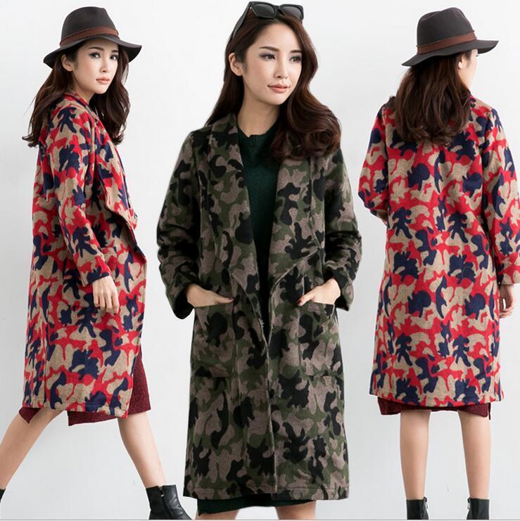 Stylish Women Camouflage Trench Coat Lapel Neck Wool Blend Winter ...