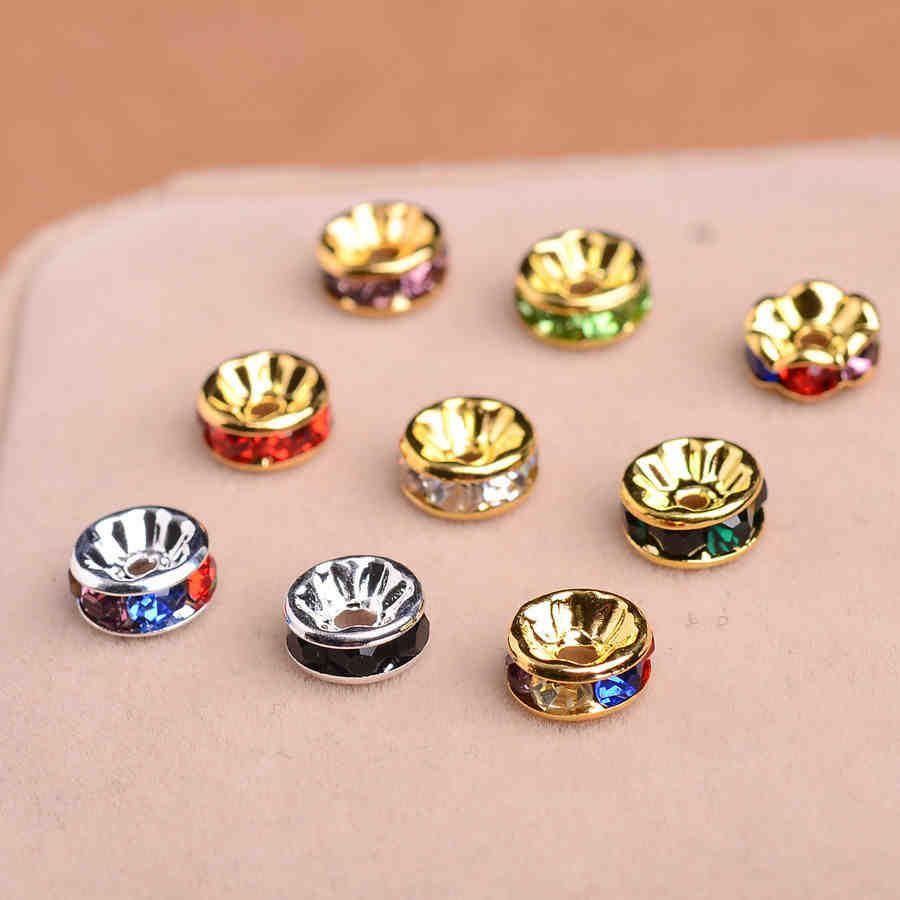 200pcs 4 zises plateado rhinestone cuentas de cristal redondos 200pcs 4 zises plateado rhinestone cuentas de cristal redondos granos de los espaciadores de los granos