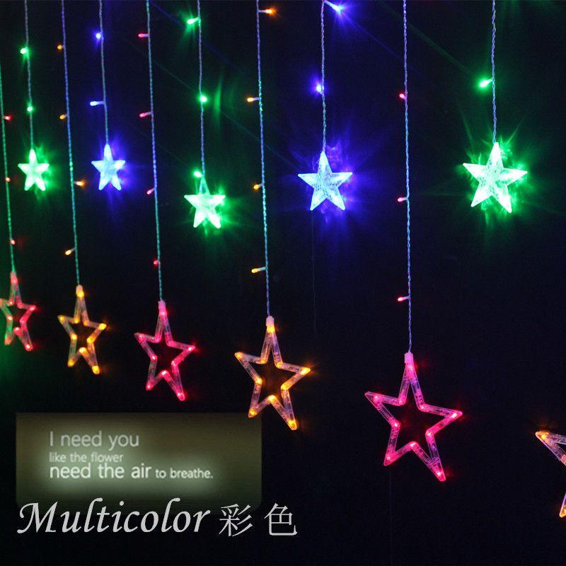 2017 led star curtain light window balcony decoration for 6 star window christmas decoration lights