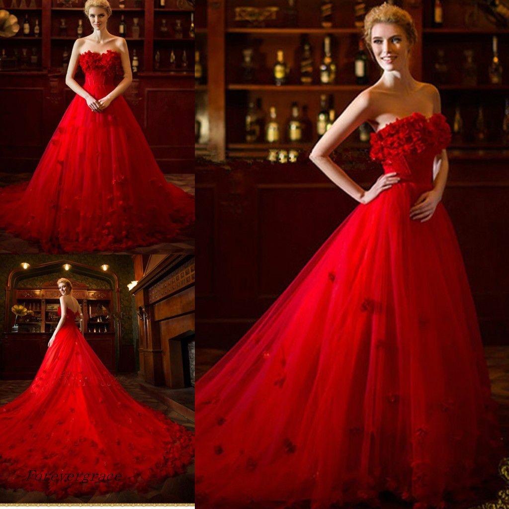 2017 Red Wedding Dress A Line Floor Length Long Women Wear