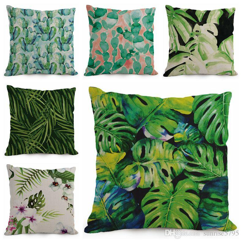 Tropical cushion cover green leaf throw pillow case sofa for Cojines sofa exterior