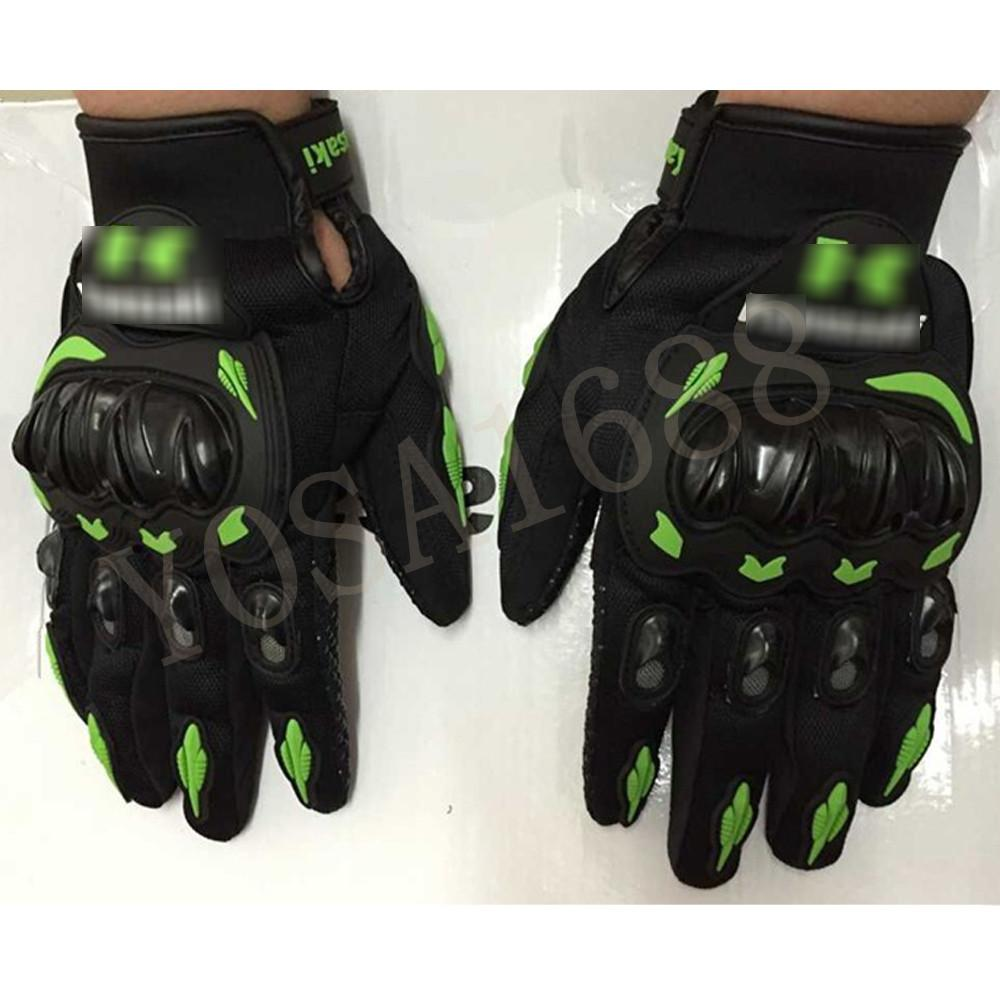Motorcycle gloves ratings - New Arrival Brand Kawasaki Motorcycle Gloves Retro Moto Racing Gloves Motocross Full Finger Gloves Cycling Glove
