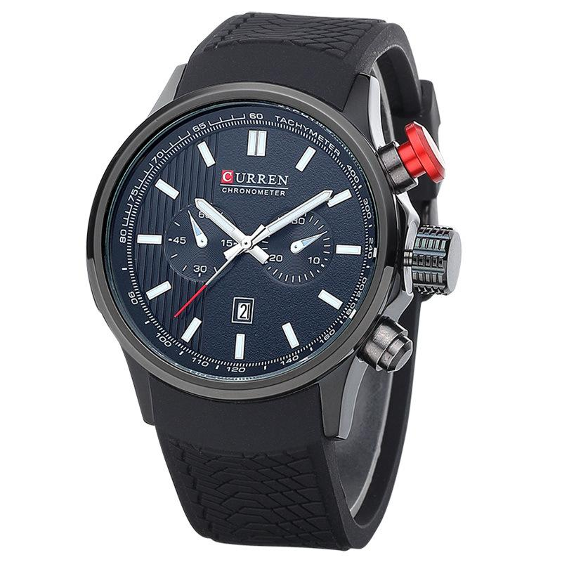 Curren 8175 calendar men 39 s watch rubber with large dial calendar watch casual motion leisure Curren leisure style fashion watch price