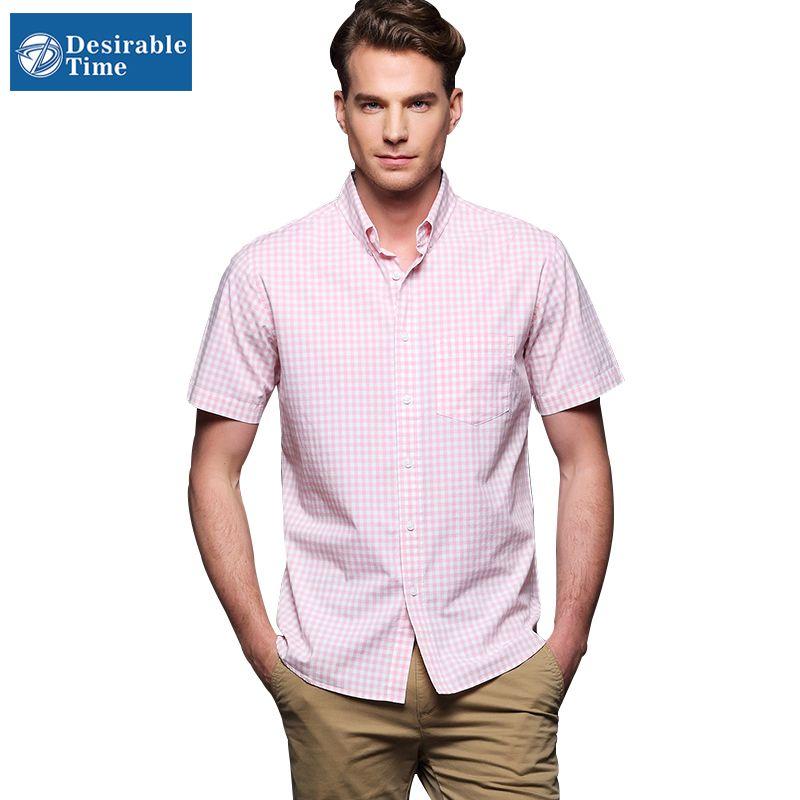 Wholesale-Men's Summer Pink Plaid Shirt Short Sleeve Big Size 4XL ...