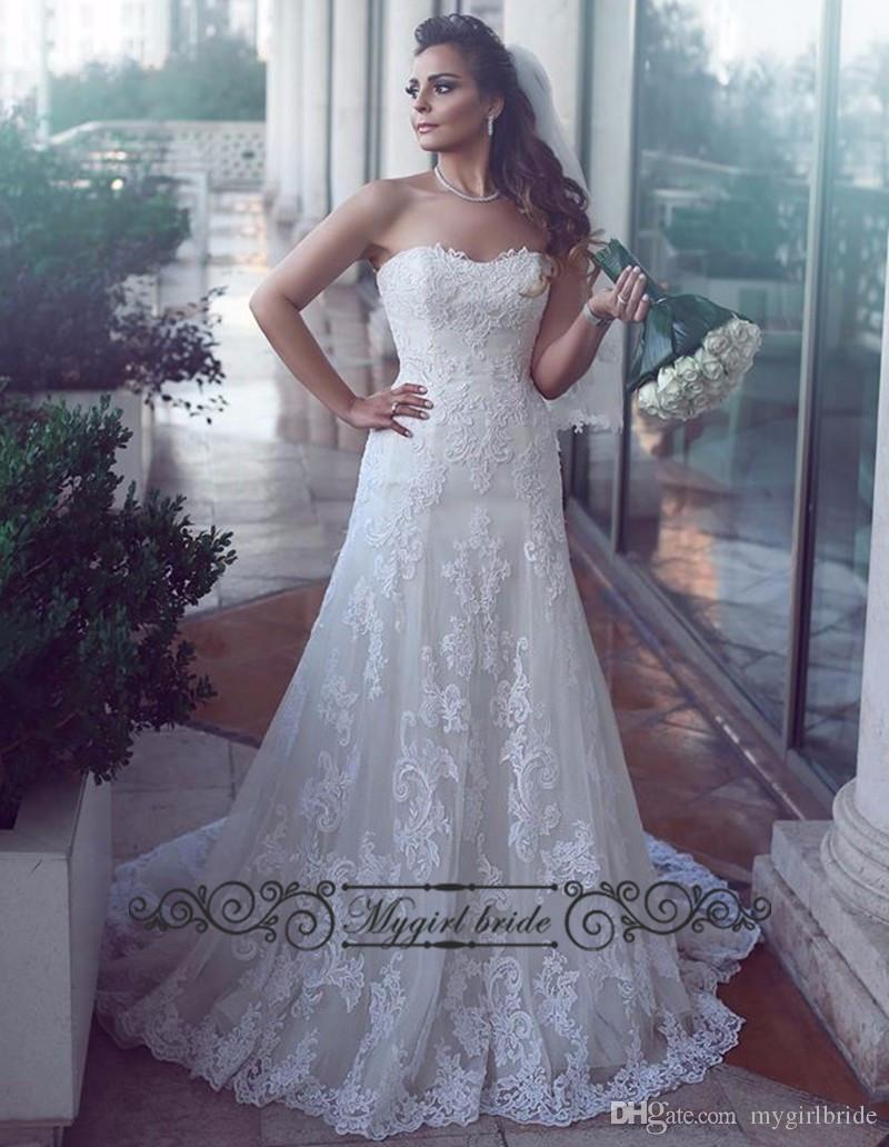 Modest wedding dresses 2016 corset back white a line lace for Www dhgate com wedding dresses