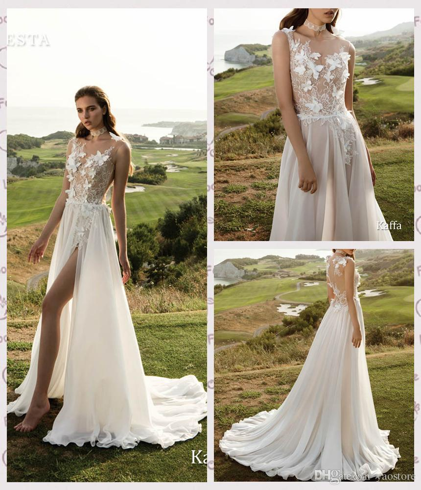 Sexy Guipure Lace Outdoor Wedding Gowns 2015 Illusion Bodice 3D Floral Appliques Bridal Dresses