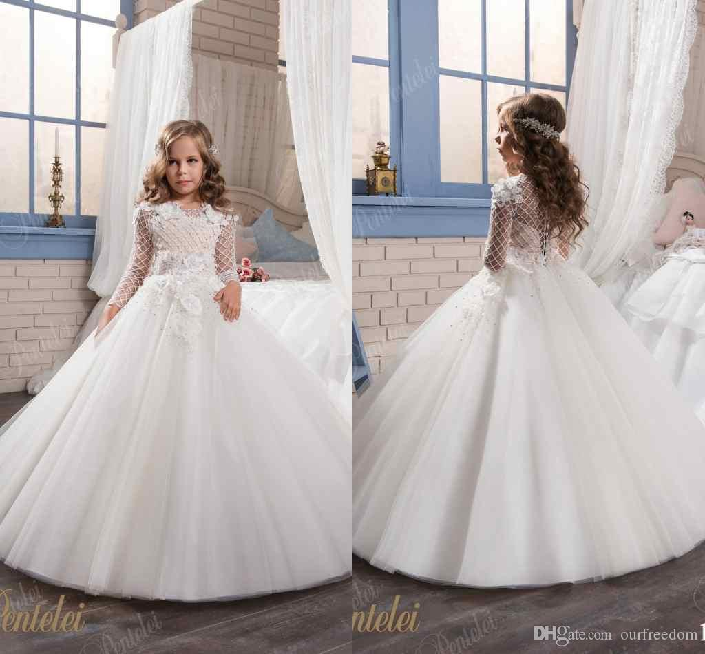 2017 Wedding Dresses For Little Girls Pentelei Cheap Long Sleeves ...