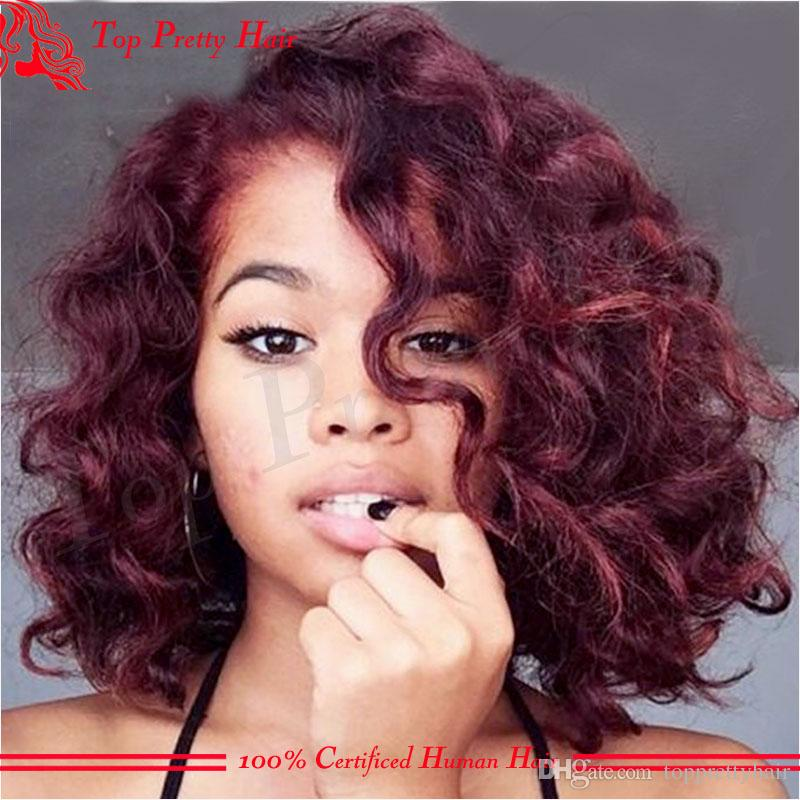 Ombre Human Hair Red Curly Wigs For Women 99j Brazilian