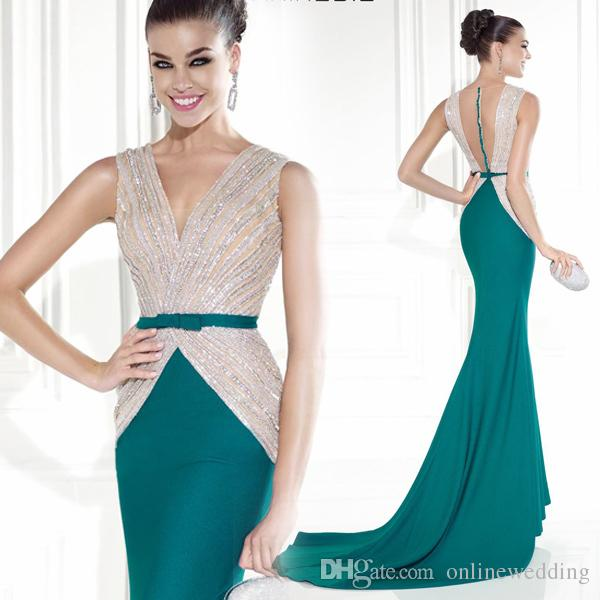Sexy 2016 Popular Fashionable Pink And Green Mermaid Evening Dresses V ...