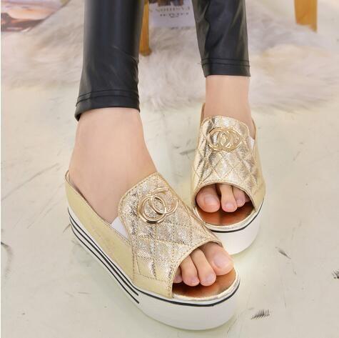 beaded pearl flip-flop t gold gentlewomen wedges sandals rhinestone high heels eu35-39 women shoes spring summer
