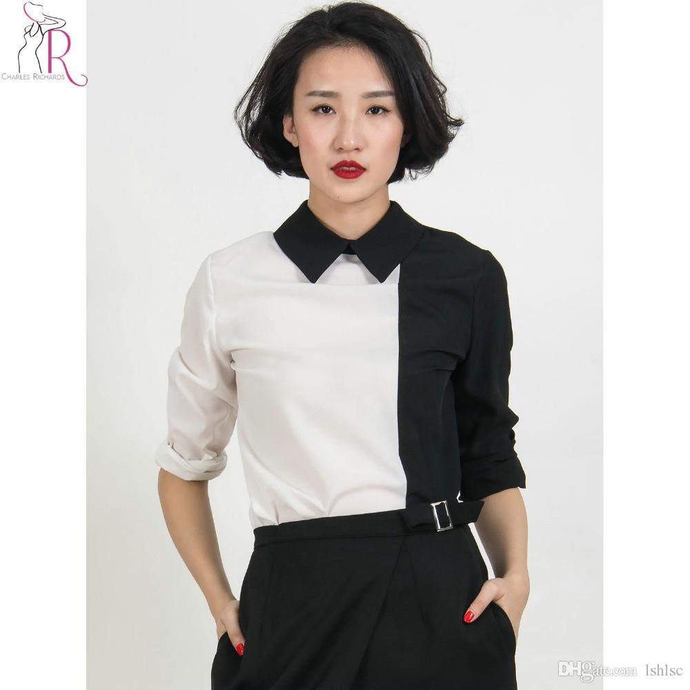 Women White Collar Silk Blouses Online | Women White Collar Silk ...