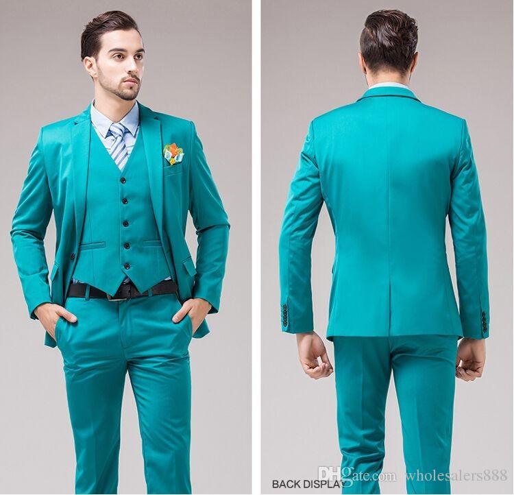 Newest Groomsmen Turquoise Groom Tuxedos Notch Lapel Slim