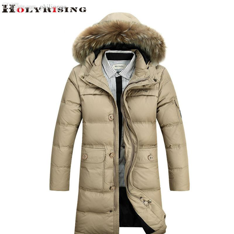 Fall-Chic Autumn Winter New Men Parka Long Solid Down Jackets ...