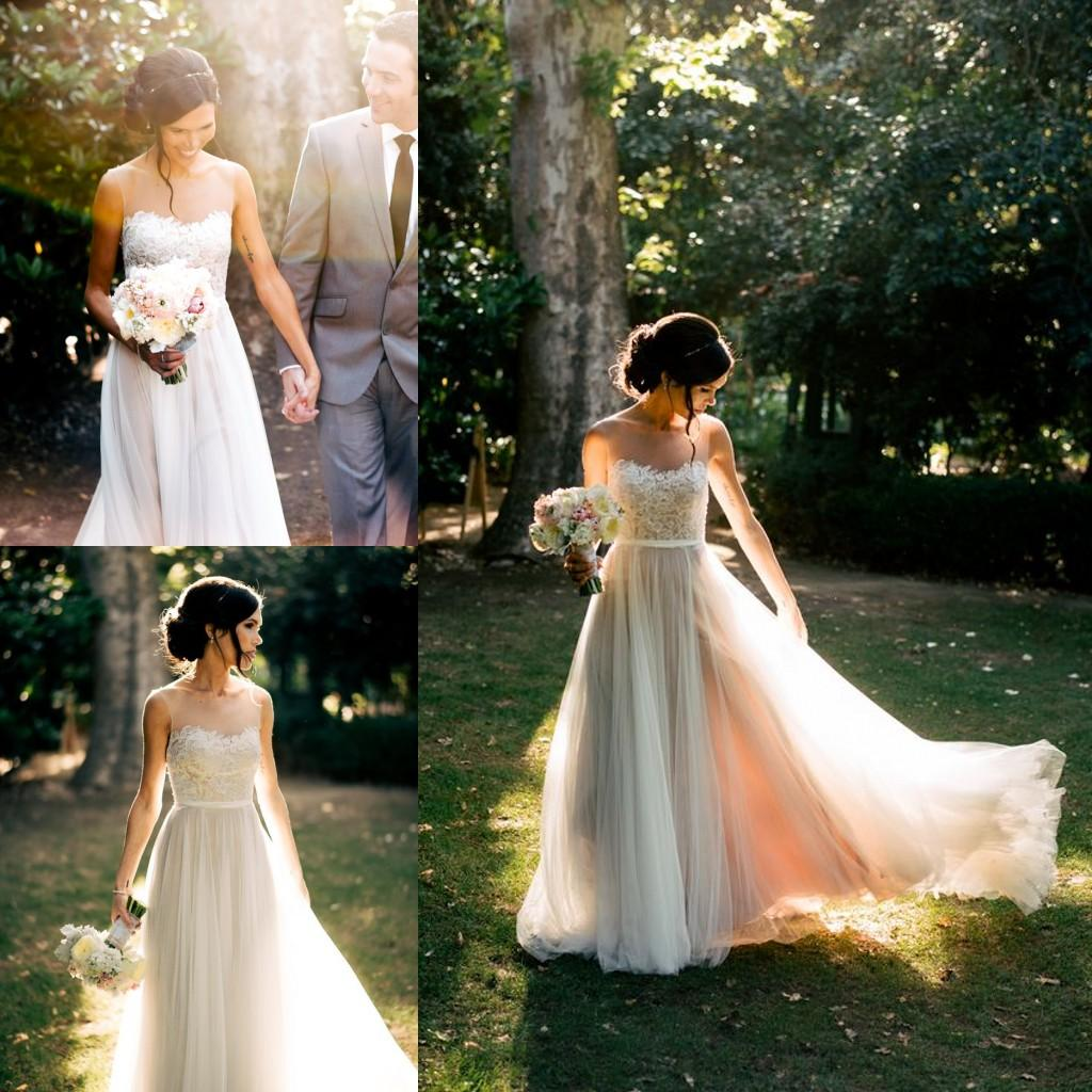 Romantic sheer beach wedding dresses 2016 simple style for Simple romantic wedding dresses