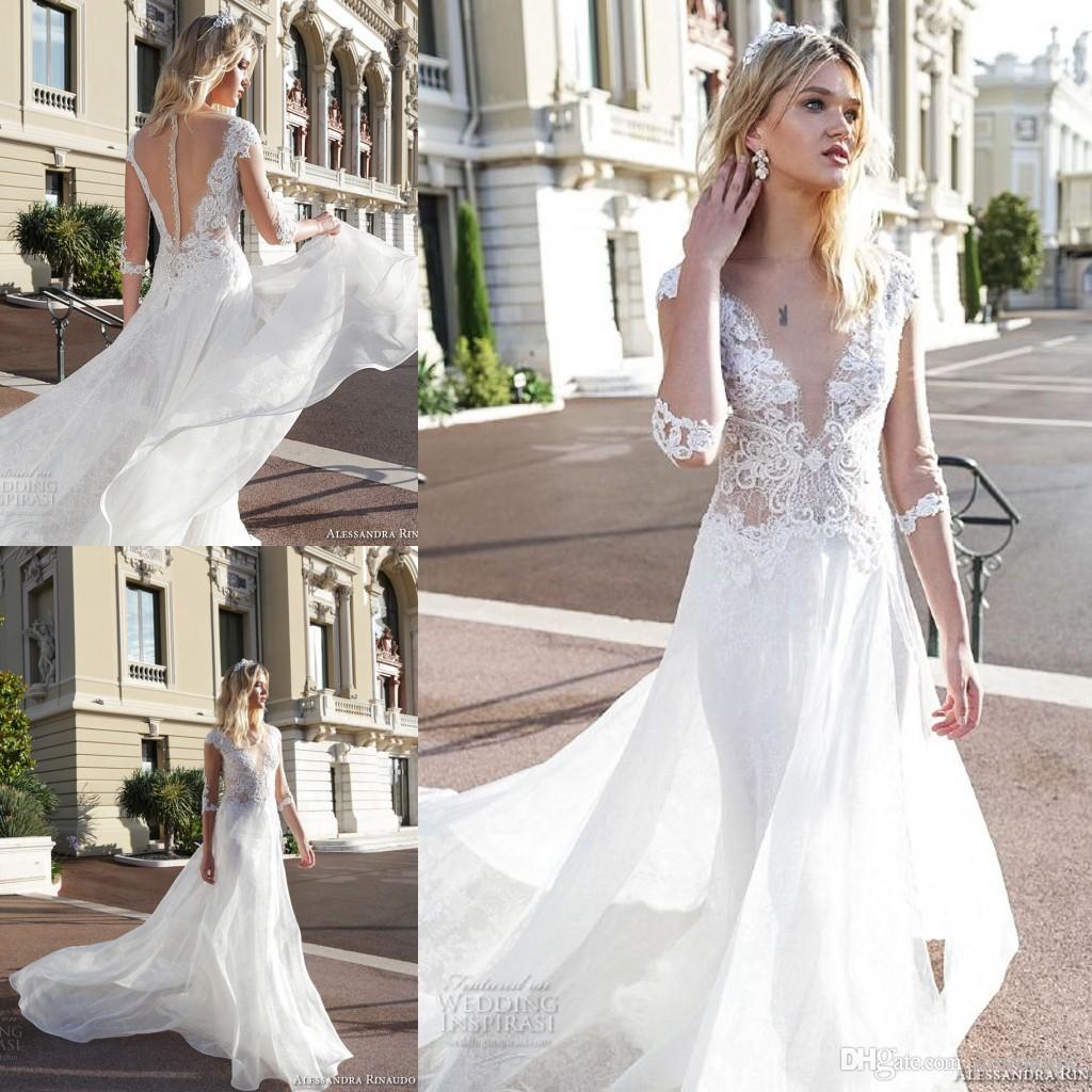 Beach Wedding Dresses 2017 : Discount new summer beach wedding dresses long sleeve sheer