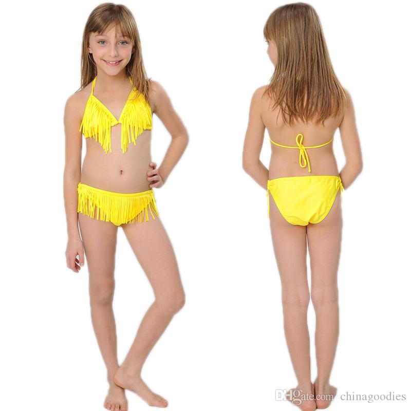 Summer Girls Two Piece Fringe Swimwear Triangle Halter Neck Swimsuit Teenagers little kids bikini Children Bathing Suits Bikini