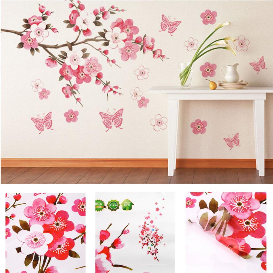 Wall Sticker Bathroom Bathroom Flower Butterfly Wall Stickers Decal Removable Peach Wall