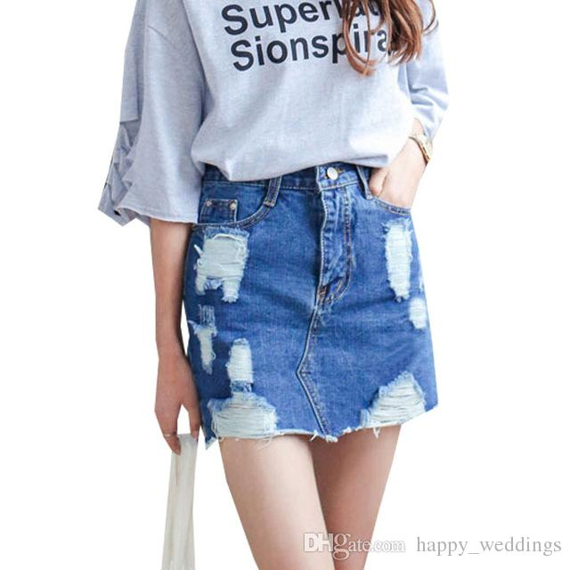2017 Summer 2017 Women Denim Skirt Jeans Short High Waist Mini ...