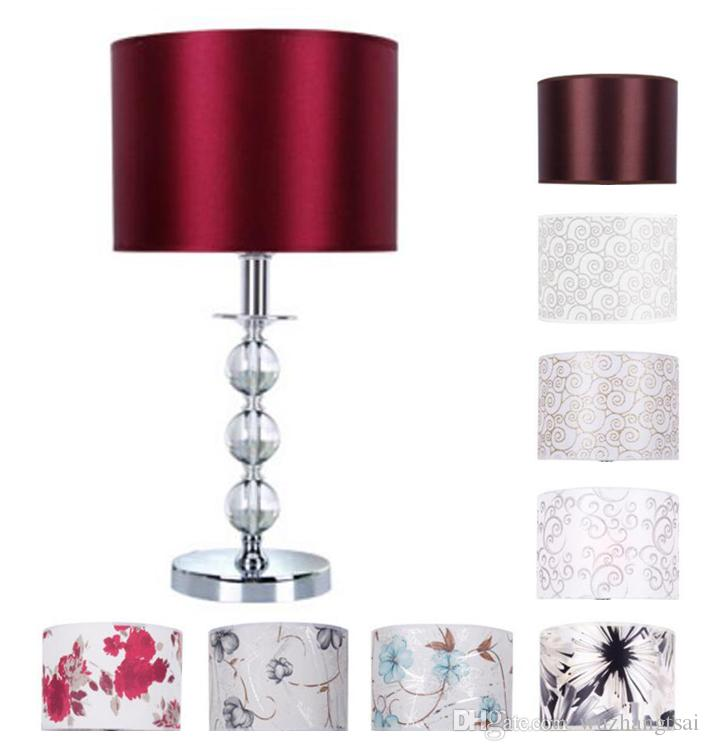 Modern desk lamp bedside crystal table light fabric shade for Glass bedside lamp shades