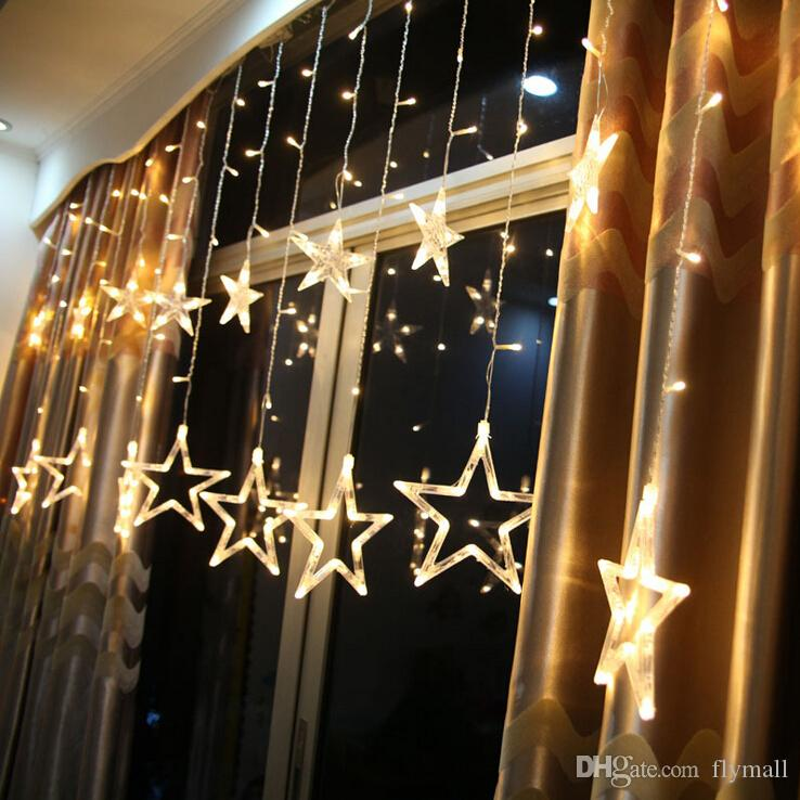 6w 138 leds 2m fairy star light 12 stars window for 6 star window christmas decoration lights