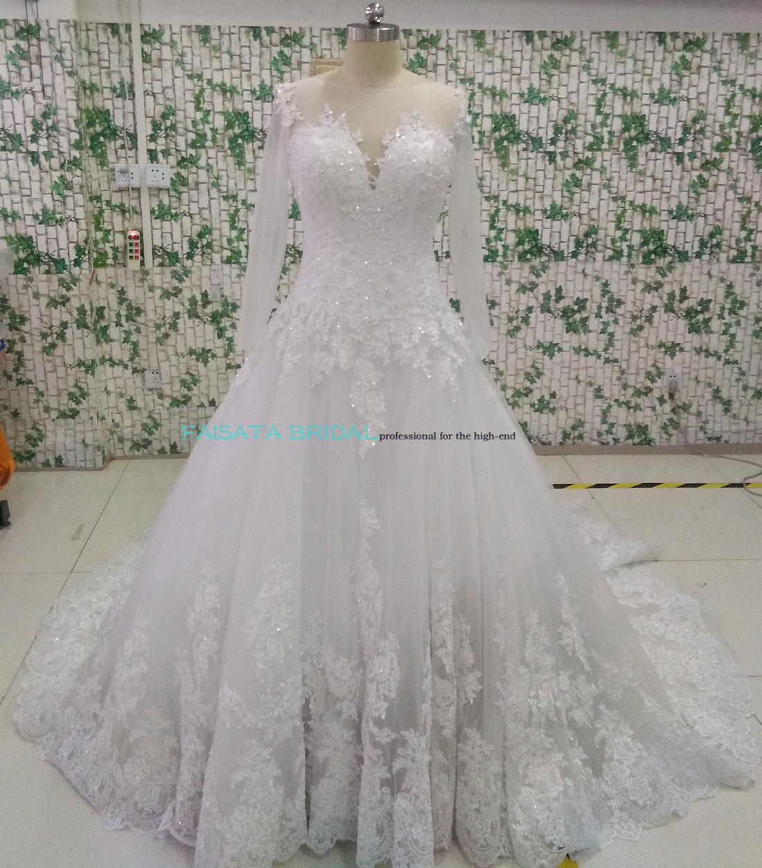 High end vestido de noiva 2016 wedding dresses long sleeve for High end wedding dress