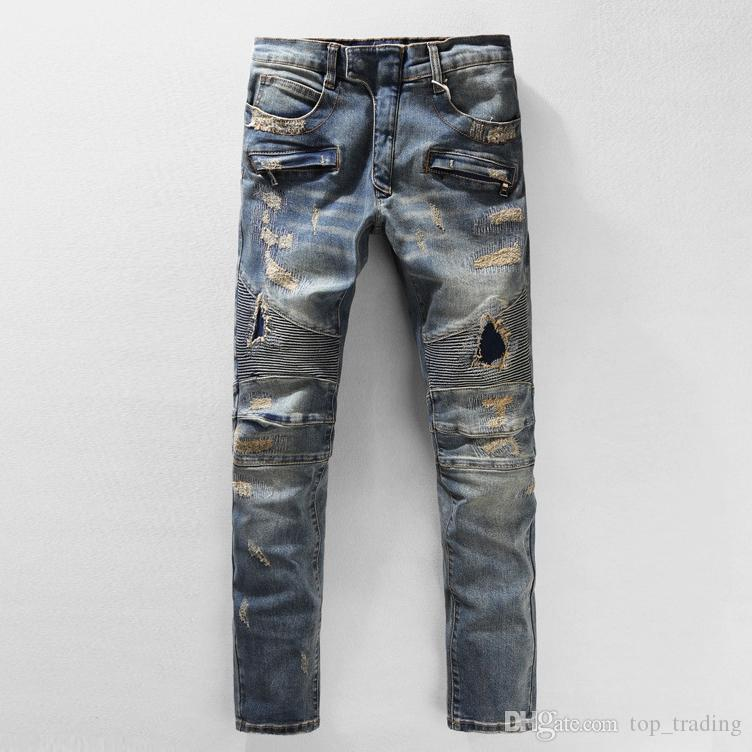 Men's Distressed Ripped Biker Jeans US Size 28~40 Slim Fit Motorcycle Biker Denim Fashion Design Jeans Plus Size Good Quality