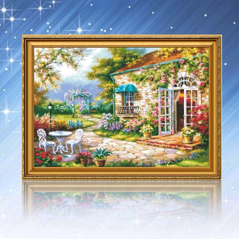 2017 2016 new garden bungalow diy 5d diamondpainting cross for Cross stitch wall mural
