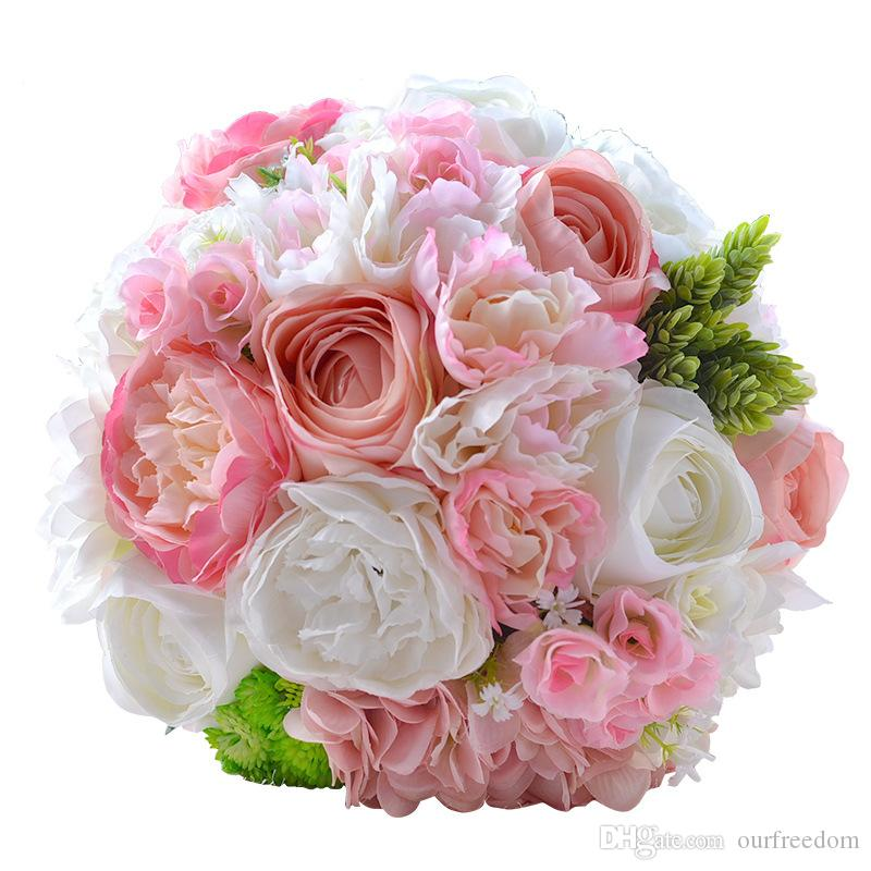 wf051pk pink silk flower for wedding party bouquet bridesmaid flowers cheap hot sale for spring. Black Bedroom Furniture Sets. Home Design Ideas