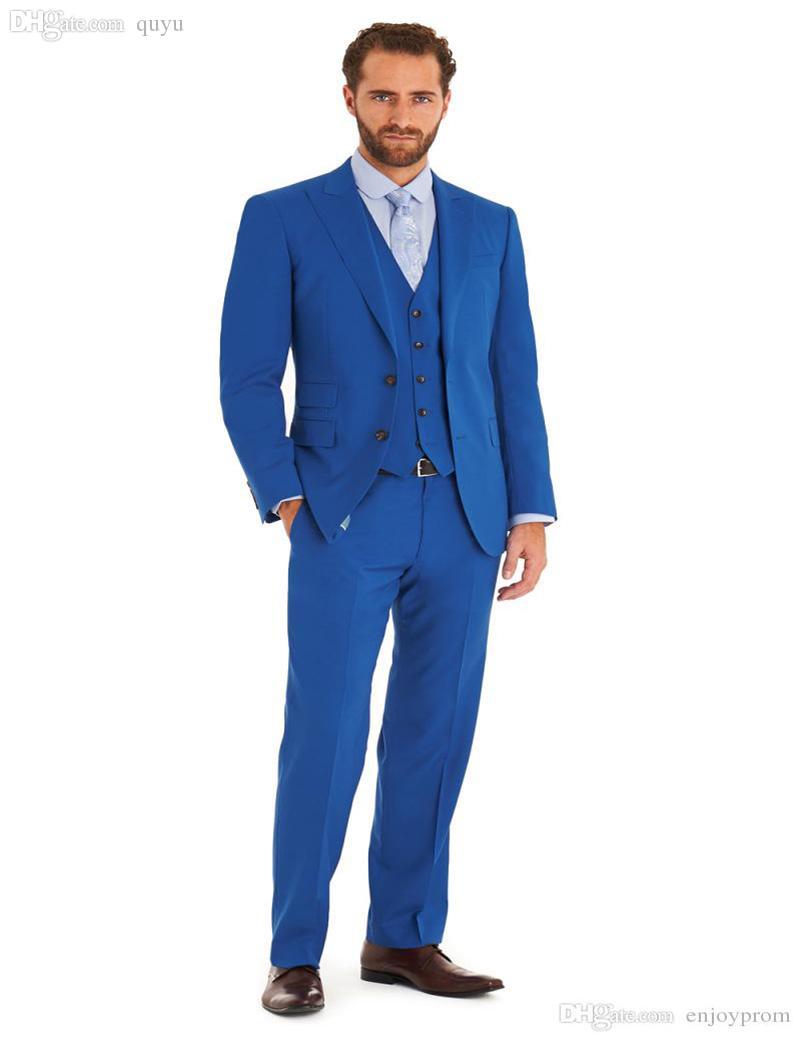 2017 Wholesale 2016 Royal Blue Wedding Suits Design Mens Suits ...