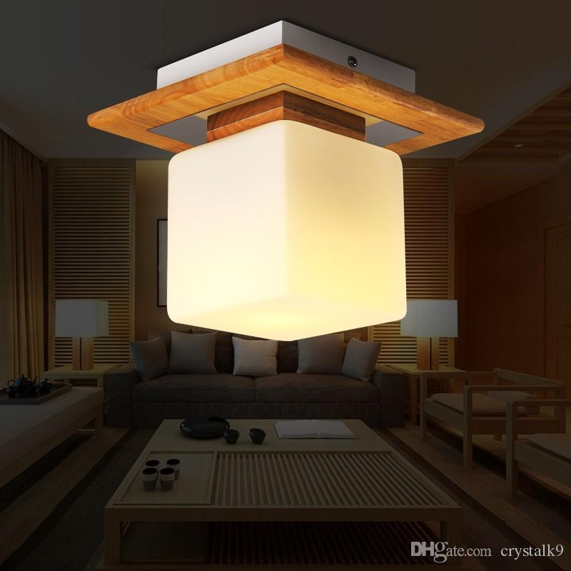 2017 japanese solid wood ceiling lamp brief modern glass decor lamp living room office bar - Office ceiling lamps ...