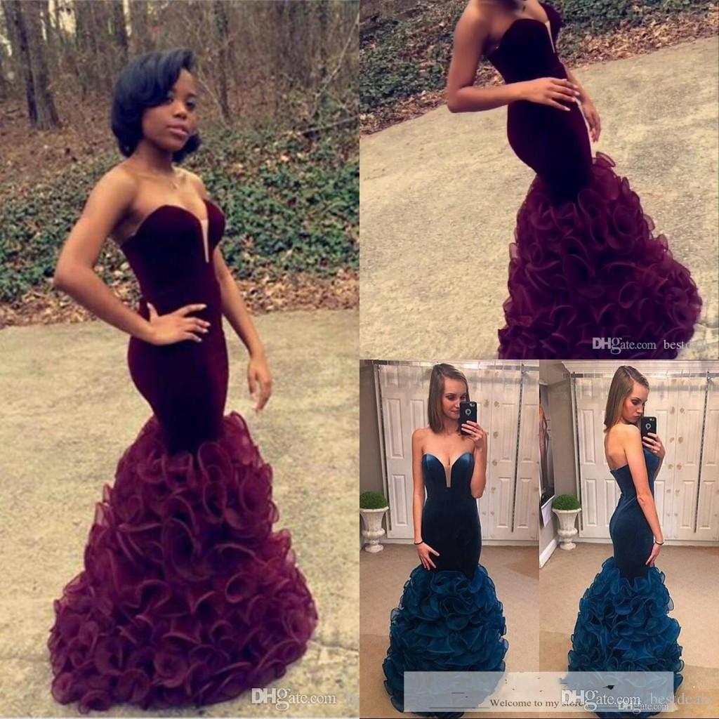 2016 Burgundy Mermaid Prom Dresses Long Sexy Sweetheart Neck ...